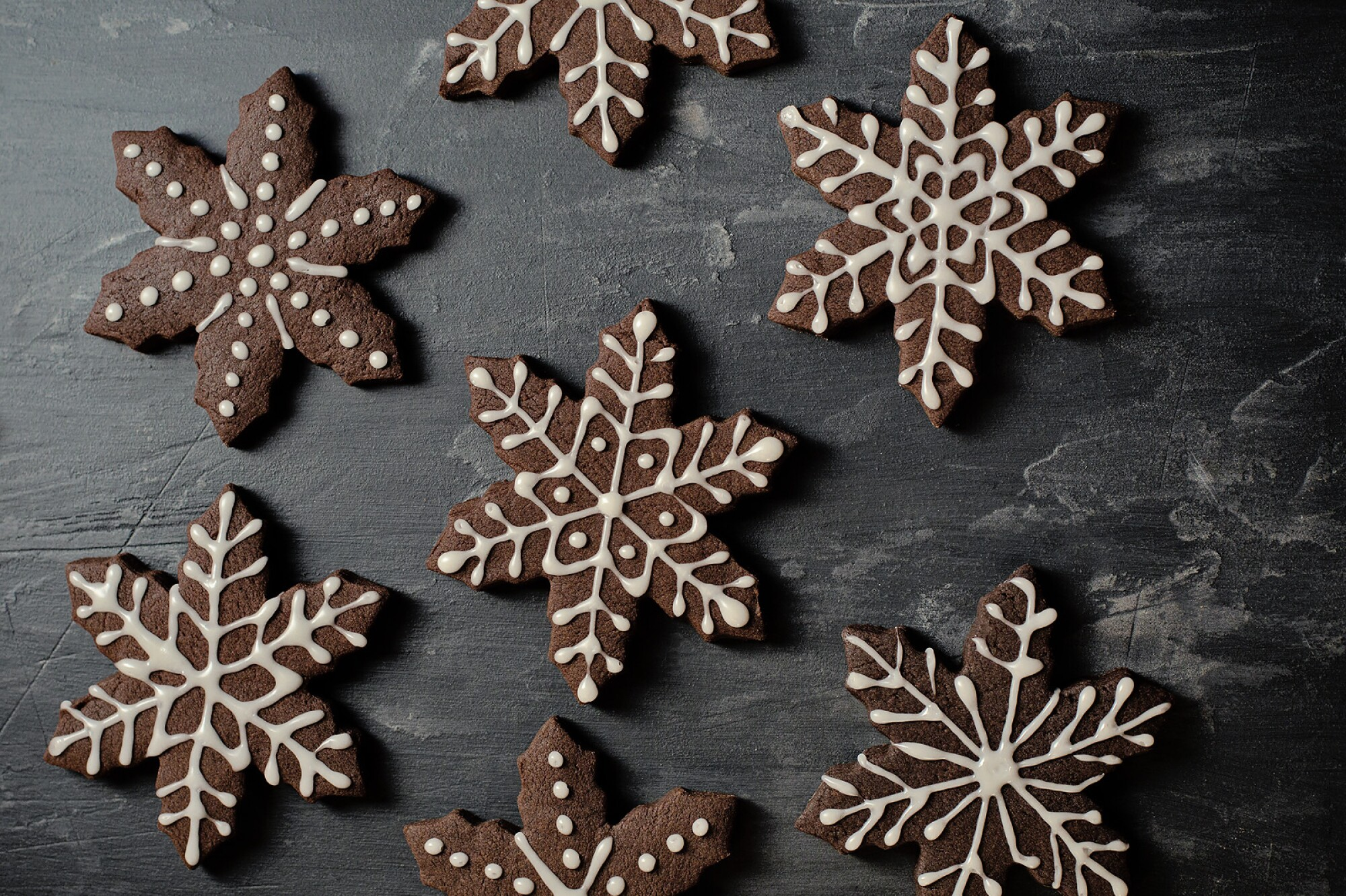 Chocolate Peppermint Snowflake Sugar Cookies.