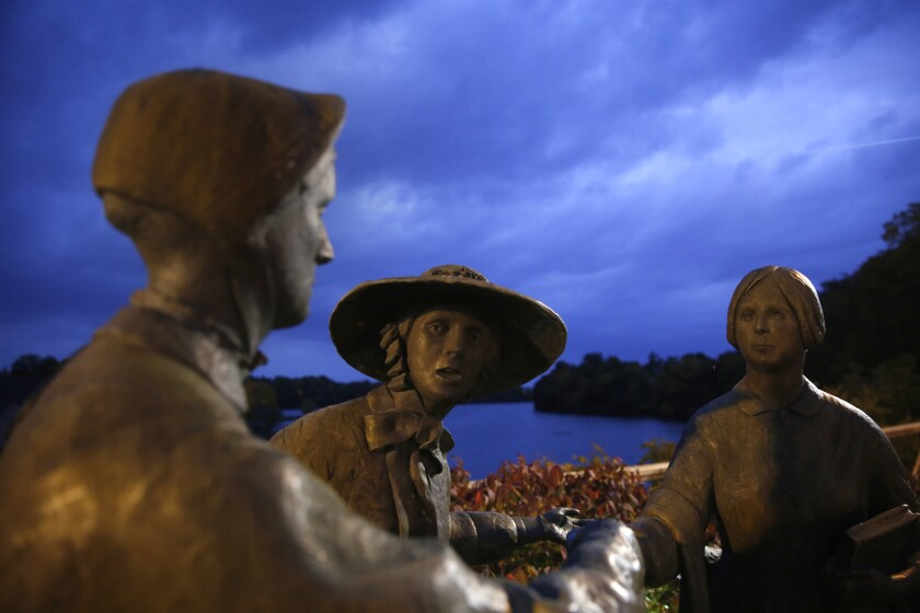 Statues honor the birthplace of women's rights in Seneca Falls.