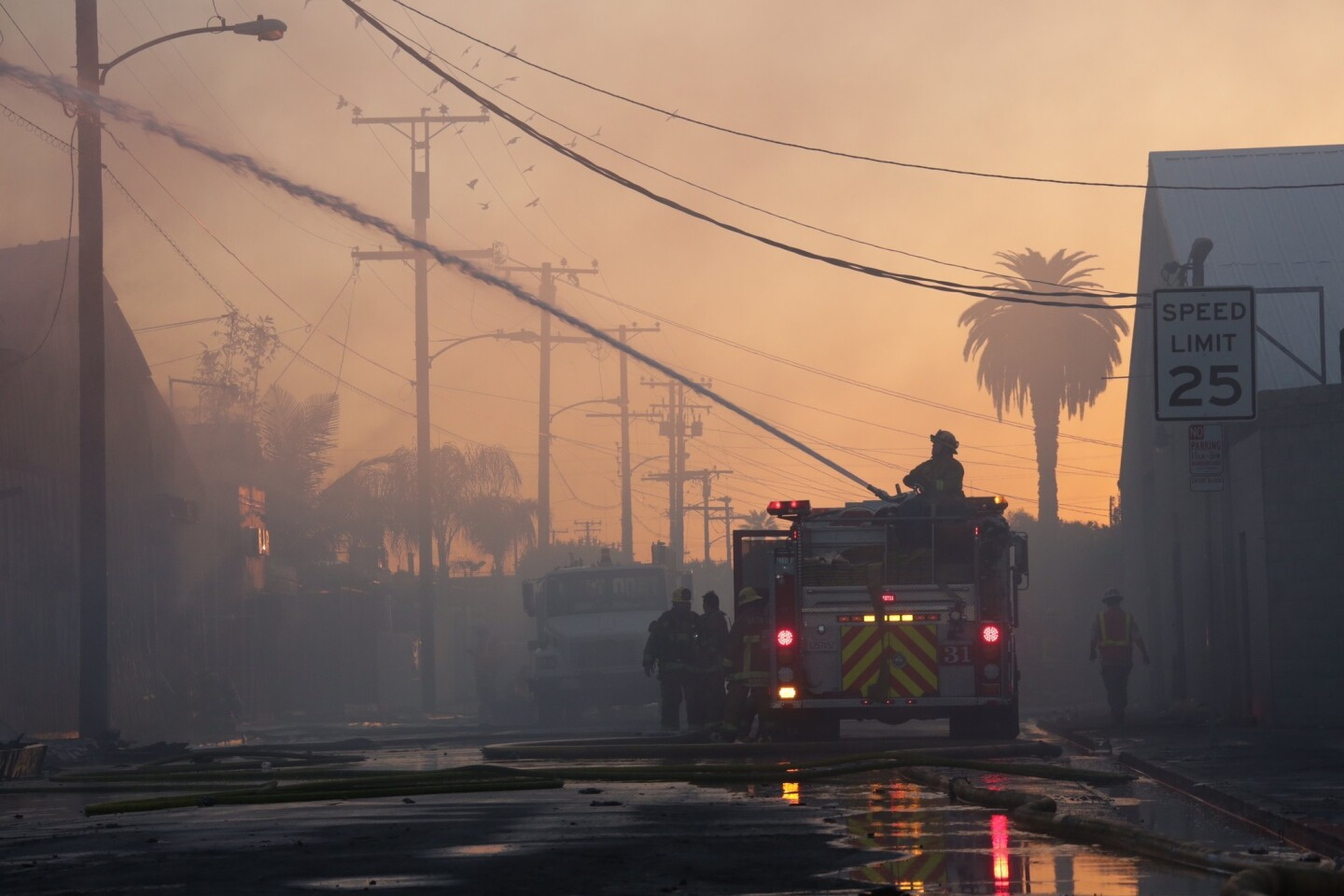 An investigation is underway into the cause of a massive blaze that destroyed businesses in an industrial part of South L.A. early Wednesday.