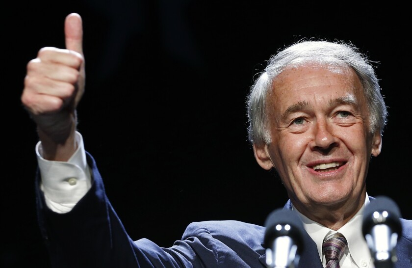 Sen. Edward Markey (D-Mass.) gives a thumbs-up while speaking at the Massachusetts state Democratic Convention in Lowell, Mass.