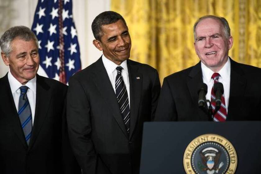 President Obama appears at the White House with Chuck Hagel, left, his nominee for Defense secretary, and John Brennan, right, his choice for CIA director.