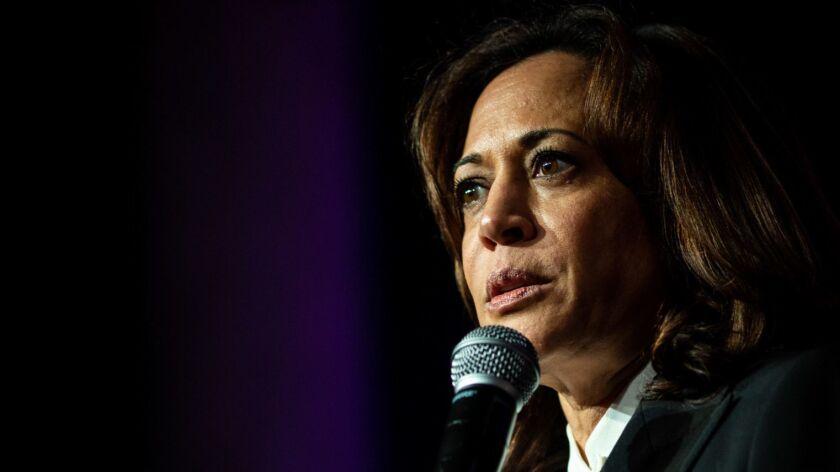 SAN FRANCISCO, CALIF. - MAY 31: Presidential candidate and Senator Kamala Harris speaks at the Plann