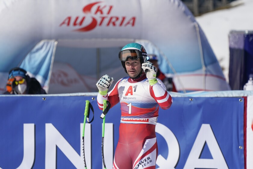 Austria's Vincent Kriechmayr gets to the finish area after completing alpine ski, men's World Cup downhill in Saalbach-Hinterglemm, Austria, Saturday, March 6, 2021. (AP Photo/Giovanni Auletta)