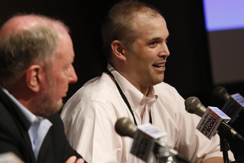 """Matt Taibbi speaks during the panel """"America's Rich and Poor: Looking at the Financial Gap"""" at the Los Angeles Times Festival of Books at USC."""