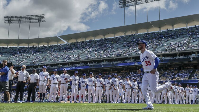 LOS ANGELES, CA, THURSDAY, MARCH 28, 2019 - Ddogers outfielder Cody Bellinger is introduced during p