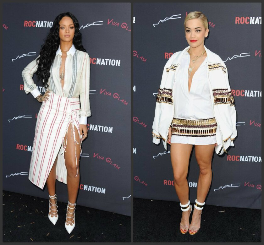 Pop star Rihanna, left, dressed in Altuzarra, arrives at the Roc Nation Pre-Grammy brunch presented by MAC Viva Glam at a private residency on Saturday in Los Angeles. Rita Ora, dressed in Alexandre Vauthier, arrives at the event.