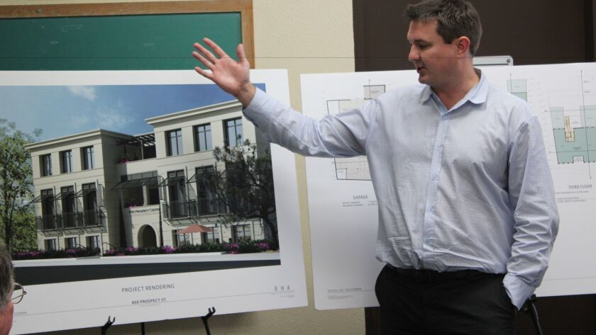 Architect Chris Barlow details information about an upcoming project at 850 Prospect St. at the Feb. 21 Development Permit Review commitee meeting.