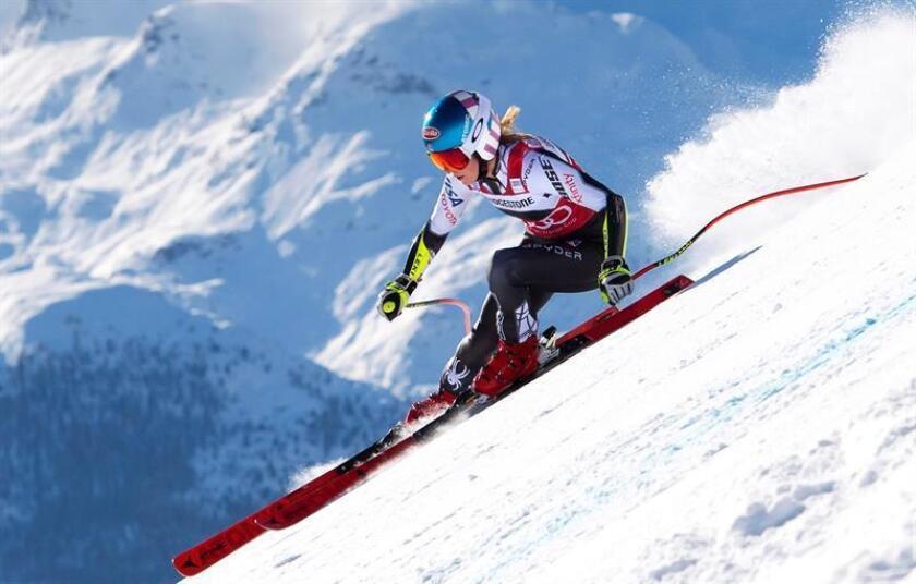 La estadounidense Mikaela Shiffrin en St. Moritz, Suiza EFE/EPA