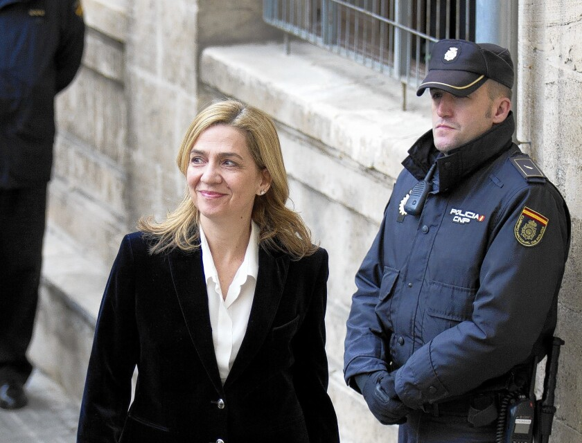 Spain's Princess Cristina, above in Mallorca in February, and her husband have been under investigation for years for allegedly embezzling about $8 million in public money through charitable sports foundations they ran.