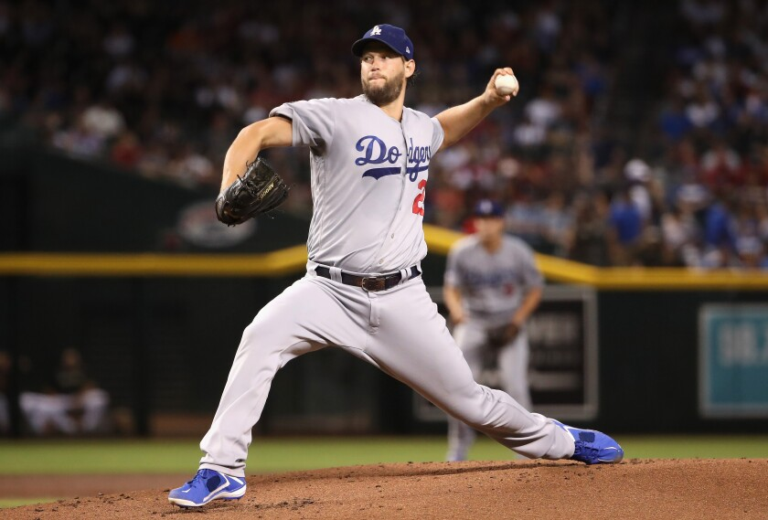 The Dodgers' Clayton Kershaw delivers a first-inning pitch Aug. 31, 2019.