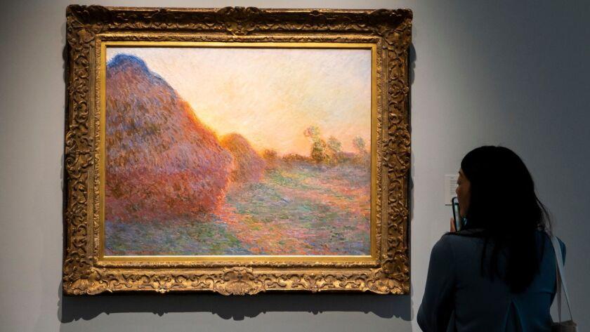 Monet Haystacks painting sells for record 110.7 million US dollar, New York, USA - 03 May 2019