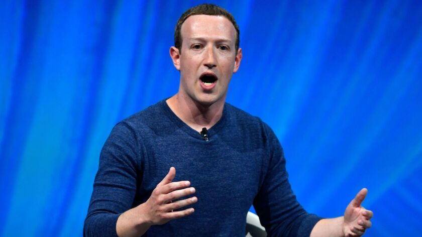 Facebook's CEO Mark Zuckerberg delivers a speech during the Viva Technology trade fair in Paris in May.