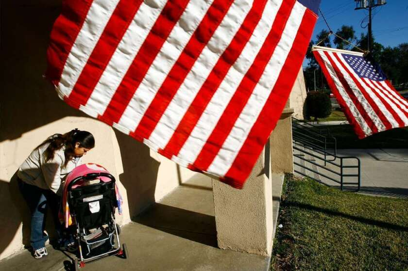 A voter goes to the polls during the 2008 primaries in the predominantly Latino neighborhood of Boyle Heights in Los Angeles. The Latino population is the fastest growing demographic in the U.S. In California the voting bloc set record turnout numbers in 2018.