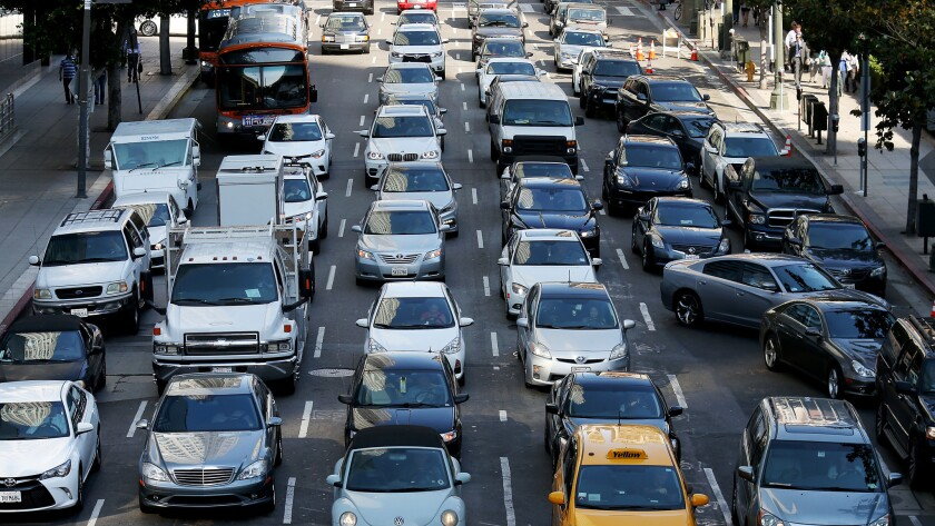 Motor traffic backs up along 5th Street in downtown Los Angeles on Wednesday, June 29, 2016.