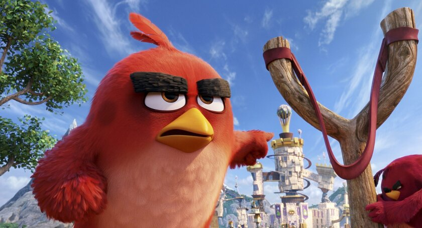 "This image released by Sony Pictures shows the character Red, voiced by Jason Sudeikis, in a scene from ""The Angry Birds Movie."""
