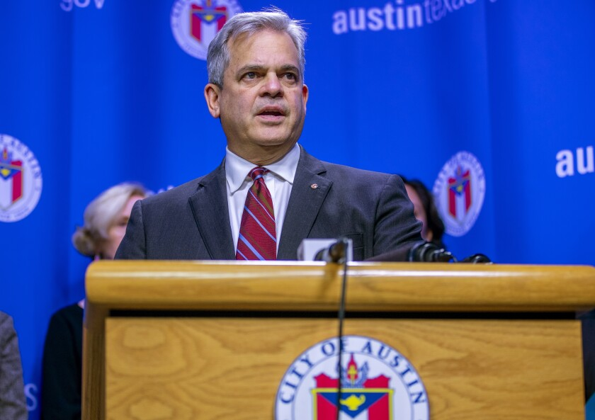 "FILE - In this March 6, 2020, file photo, Austin Mayor Steve Adler speaks during a press conference in Austin, Texas. Adler took a vacation to Mexico with family in November at a time when he was urging people to ""stay home if you can."" The trip revealed by the Austin-American Statesman on Wednesday, Dec. 2, 2020, comes after California Gov. Gavin Newsom, another public official who has also pleaded with his residents to resist the temptation to socialize, acknowledged last month that he attended a birthday party at a posh restaurant with friends. (Ricardo B. Brazziell/Austin American-Statesman via AP, File)"