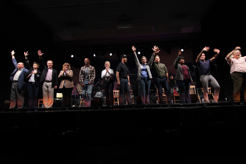 The cast of 'Come From Away' will give a concert performance of the Broadway-bound musical at the La Jolla Playhouse Gala Feb. 4.