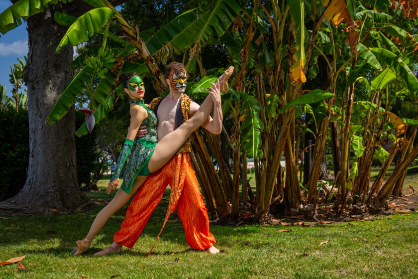 "Camille McPherson and Adam Bloodgood in San Diego Ballet's production of ""The Jungle Book."""