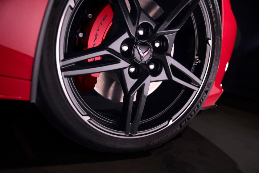 Front and rear Brembo disc brakes have four-piston two-piece front calipers and four-piston monobloc rear calipers — 12.6 inches front, 13.3 inches rear. The Z51 package adds 13.6-inch rotors front, 13.8 inches rear.