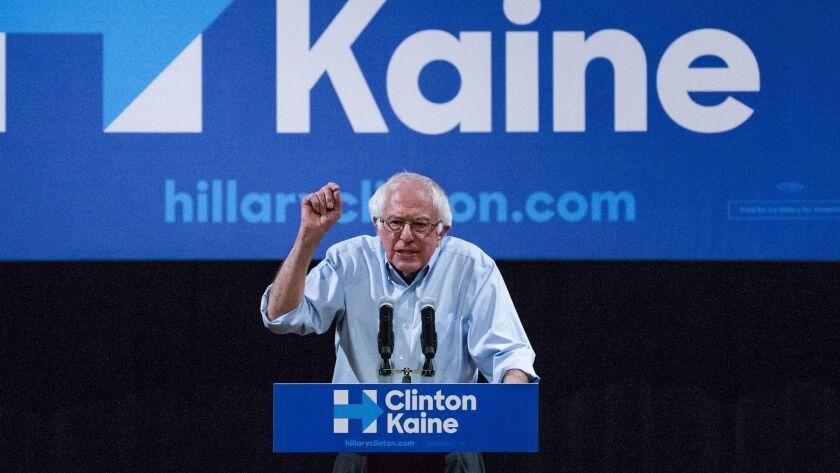 Jewish American Democratic Senator Bernie Sanders addresses a Clinton-Kaine rally inside the Prochnow Auditorium at Northern Arizona University on Oct. 18.