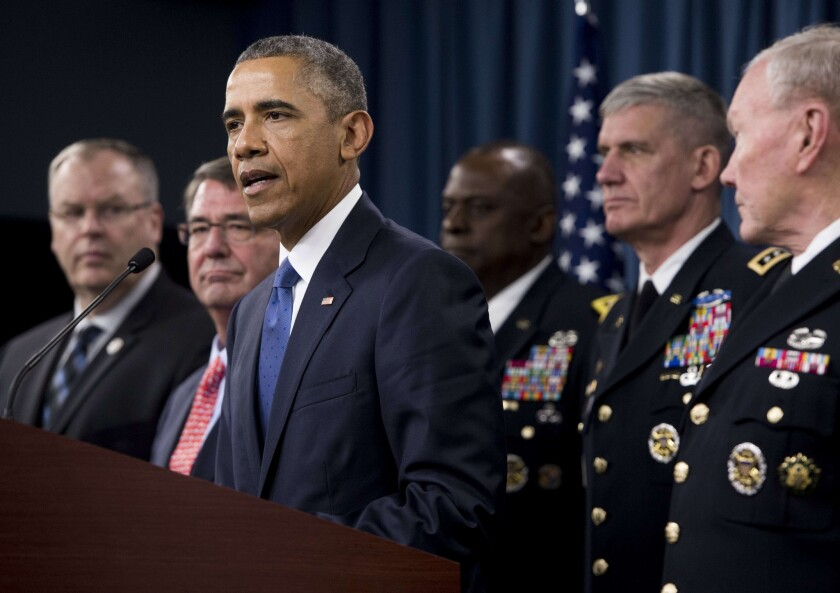 """President Obama said Monday at the Pentagon that the U.S.-led coalition battling Islamic State militants is """"intensifying"""" its campaign but offered few specifics beyond increased airstrikes in Syria."""