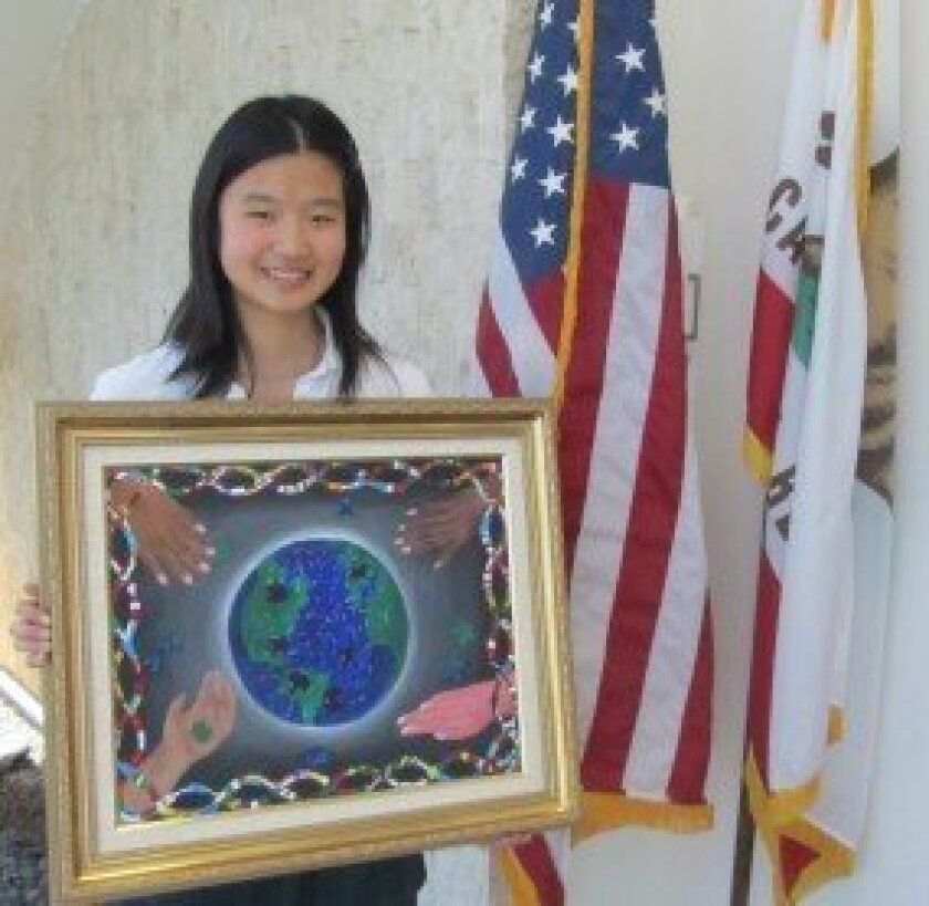 """Art Contest Winner: A representative from the office of Congresswoman Susan Davis noted during the meeting that The Bishop's School sophomore Jenny Chen (pictured) was chosen as the winner of the 2012 Congressional Art Competition. Her painting, """"A worldwide Puzzle,"""" will be displayed in Cannon Tun"""