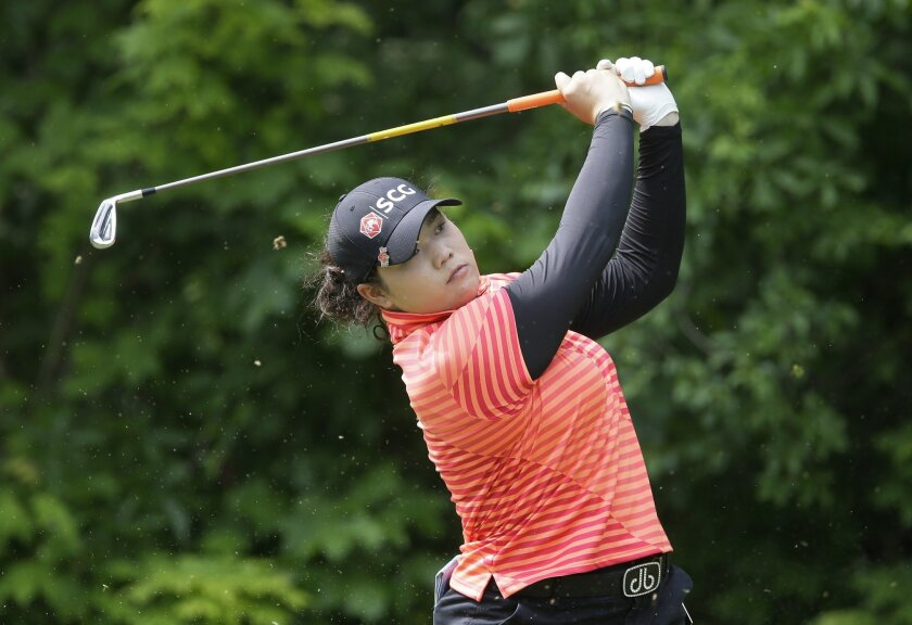 Ariya Jutanugarn, of Thailand, hits from the seventh tee during the third round of the LPGA Volvik Championship golf tournament at the Travis Pointe Country Club, Saturday, May 28, 2016, in Ann Arbor, Mich. (AP Photo/Carlos Osorio)