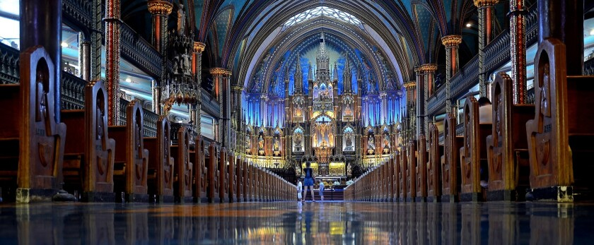 The stunning Gothic Revival interior of Montreal's Notre-Dame Basilica.