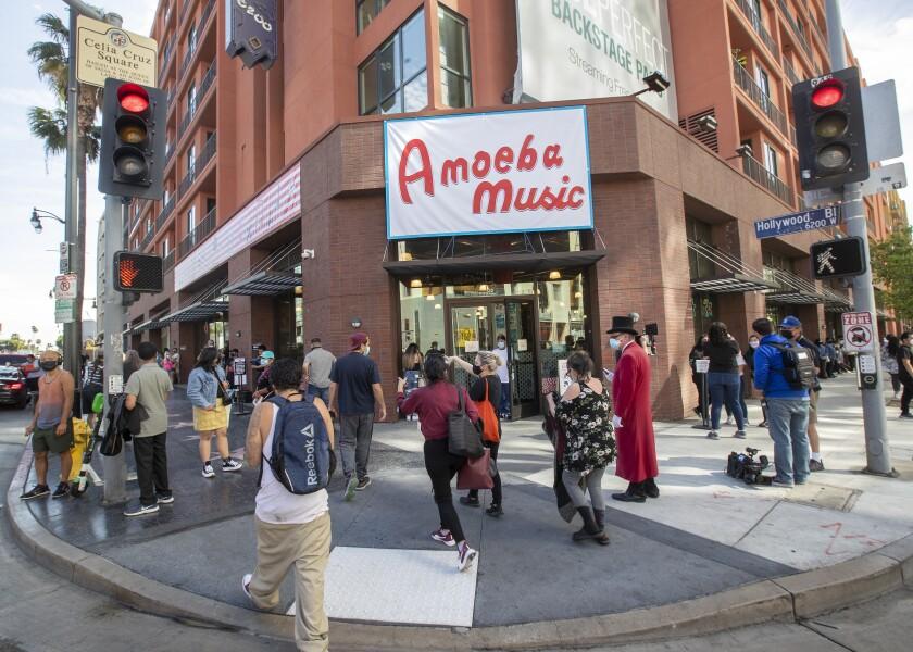 Amoeba Music reopened in a new location in Hollywood after being shuttered for a year due to the coronavirus outbreak.
