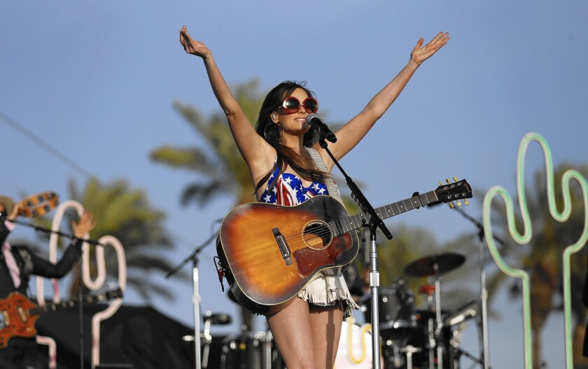 Kacey Musgraves performs on the Mane Stage on April 24, 2015, the first day of the sold-out three-day Stagecoach Country Music Festival at the Empire Polo Club in Indio, Calif.