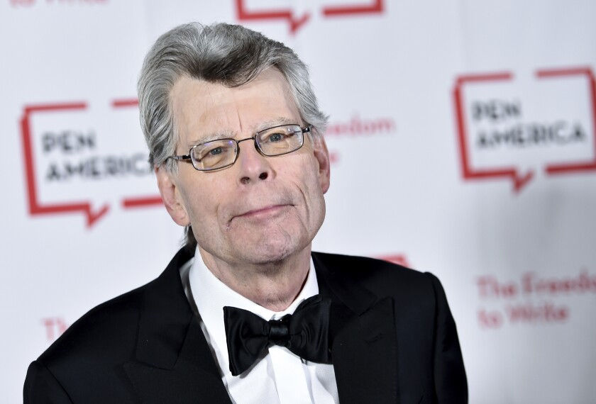 """FILE - This May 22, 2018 file photo shows Stephen King at the 2018 PEN Literary Gala in New York. King, a member of the Academy of Motion Picture Arts and Sciences, says he cares only about """"quality,"""" not """"diversity"""" when deciding on awards. The best-selling author's comments came shortly after the announcement of this year's nominees for the Academy Awards, widely criticized for only choosing male directors and for an almost entirely white group of acting finalists. King wrote that he had been allowed to nominate people for best picture, best screenplay and best original screenplay, and that for him """"the diversity issue _ as it applies to individual actors and directors, anyway _ did not come up."""" (Photo by Evan Agostini/Invision/AP, File)"""