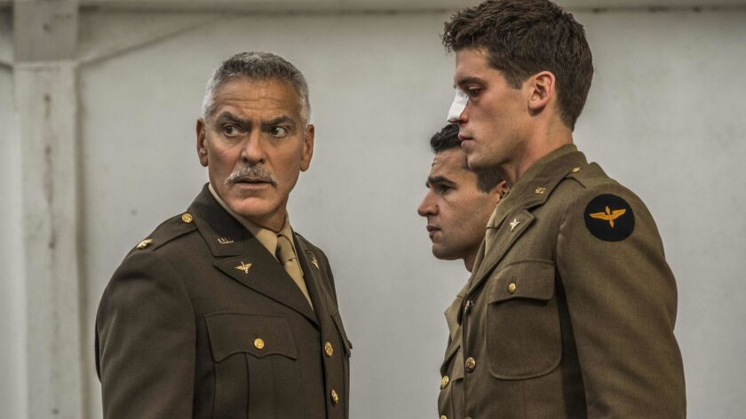 "Gen. Scheisskopf (George Clooney), Yossarian (Christopher Abbott), and Clevinger (Pico Alexander) in Hulu's ""Catch-22."" Yossarian and other flyers train in California before being shipped to the Italian island of Pianosa during World War II."