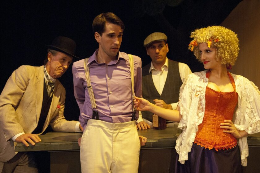 At the bar of the Pleasant Beach House: Jack Missett (the salesman), Kyle Lucy (Richard Miller), John DeCarlo (the bartender) and Kelly Iversen (Belle) in New Village Arts' 'Ah, Wilderness.'(Photo credit Adam Brick)