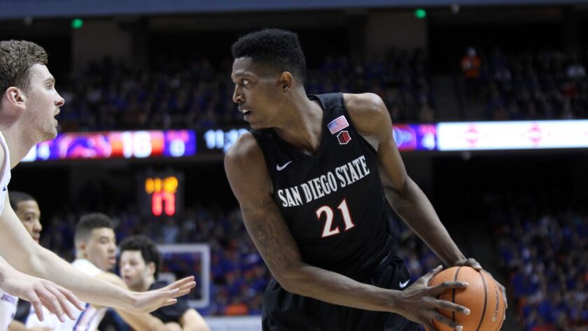Aztecs forward Malik Pope posts up during the first half versus Boise State. He had 18 points and nine rebounds.