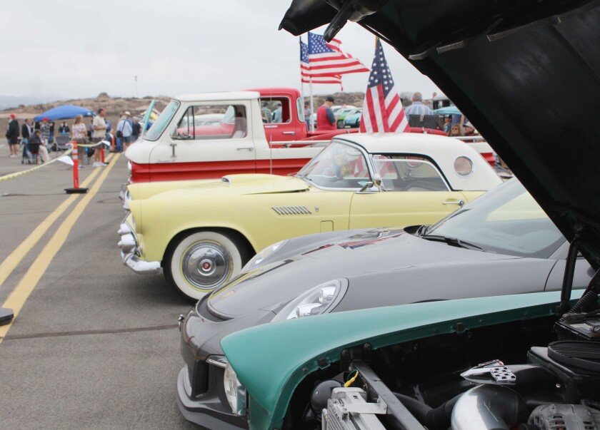 Vehicles are lined up at the Classic Car Show at the 2018 Ramona Air Fair & Fly-In.