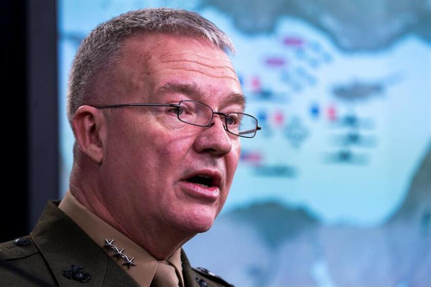 Joint Staff director Marine Lt. Gen. Kenneth F. McKenzie Jr. speaks to the media about the US-led bombing campaign against Syria inside the Pentagon briefing room in Arlington, Virginia, USA. EFE/EPA/FILE