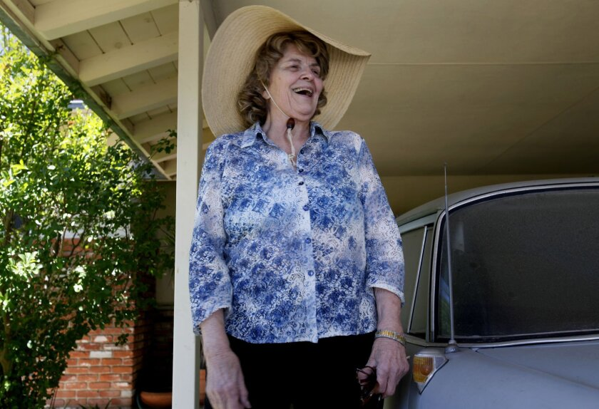 Sharlotte Hydorn spoke with reporters in May following a FBI raid on her East County home.