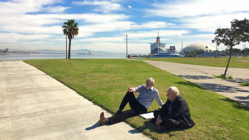 Landscape architect Laurie Olin, left, and Frank Gehry, photographed in Long Beach in February, are part of a design team working on a new plan for the Los Angeles River.