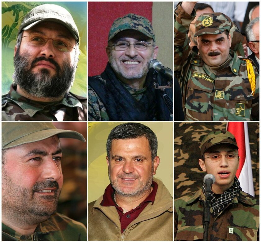 COMBO - this combo made up of six images shows Hezbollah top commanders who were killed in Syria, top row from left, Imad Mughniyeh, Mustafa Badreddine and Samir Kantar, at bottom row from left are Hassan Hussein al-Haj, Ali Fayyadh and Jihad Mughniyeh. Since Hezbollah joined Syria's civil war in 2