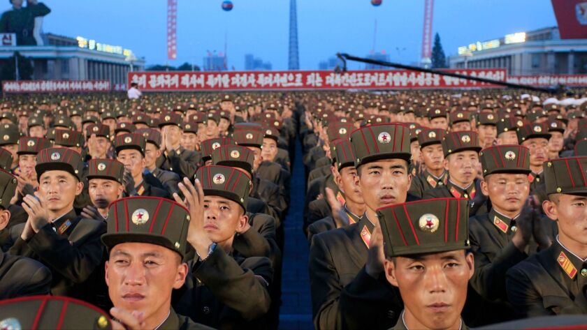Soldiers gather in Kim Il Sung Square in Pyongyang, North Korea, on July 6.