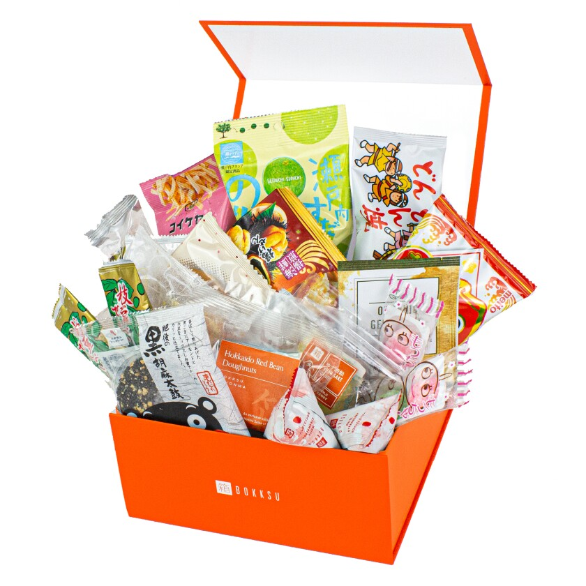 This image shows various treats from the Japanese snack box service Bokksu. (Bokksu via AP)