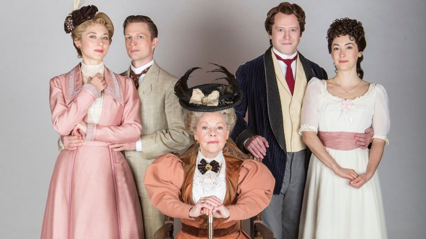 """Kate Abbruzzese, Matt Schwader, Helen Carey, Christian Conn and Helen Cespedes (from left) in the Old Globe Theatre's """"The Importance of Being Earnest."""""""