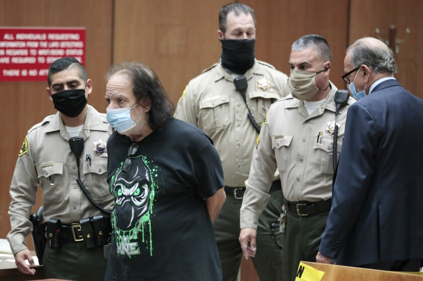 Adult film star Ron Jeremy is charged with sexually assaulting four women in Los Angeles Superior Court.