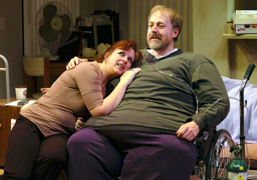 Mary's (Melissa Fernandes) resentment is overcome by Charlie's (Andrew Oswald) reality  in 'The Whale.'