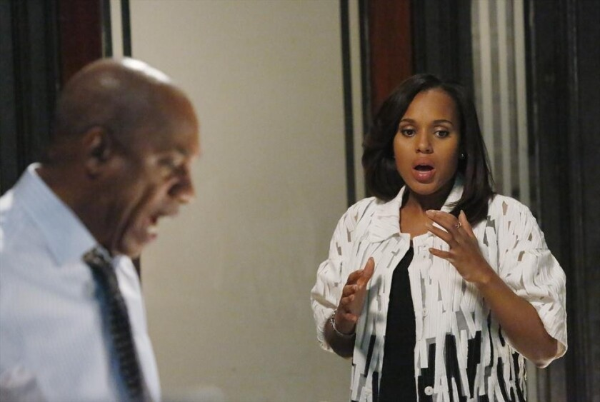 "Joe Morton and Kerry Washington in a scene from ""Scandal."""