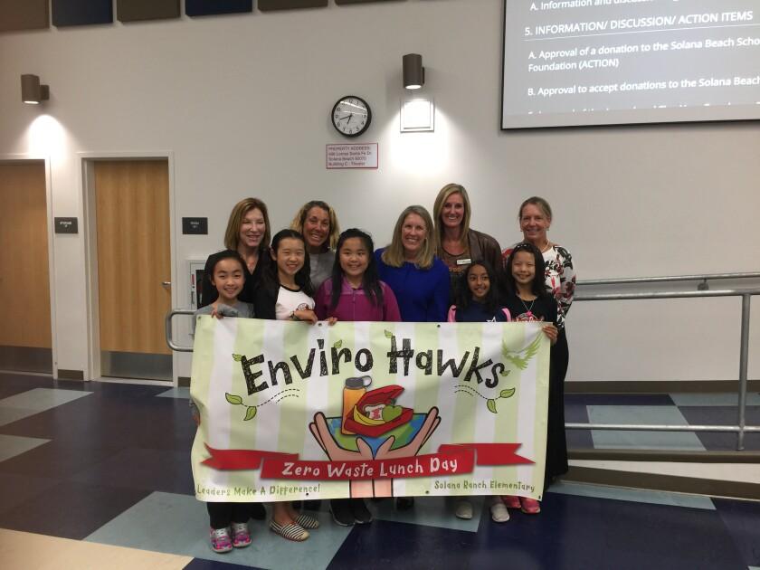 Solana Ranch EnviroHawks Kate Zhao, Alethia Li, Janet Yang, Sohini Sampath and Anita Qian with Solana Beach School District board members and the superintendent at the Nov. 14 board meeting.