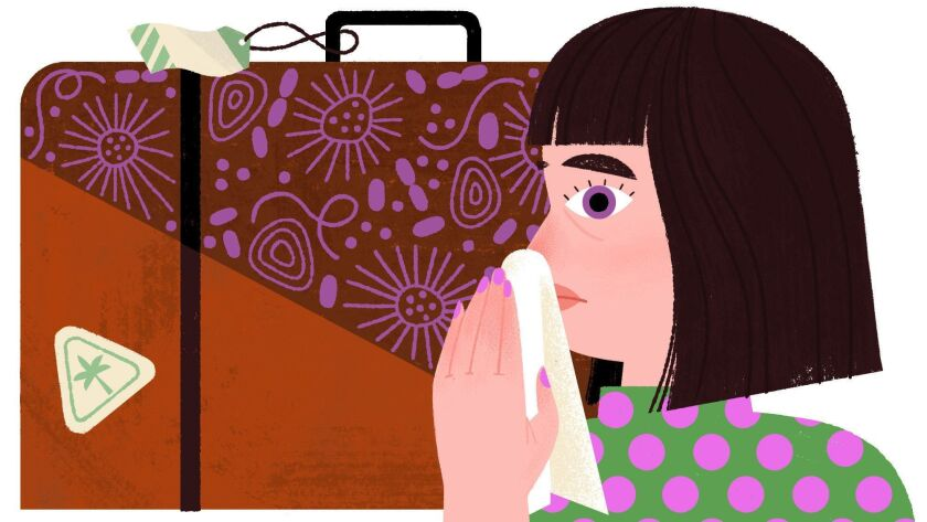 Spot column illustration on why you get sick after vacation — and how you can prevent it.