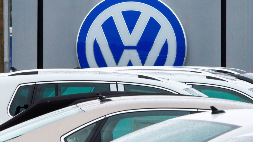 The Volkswagen logo at a dealership in Woodbridge, Va., in 2015.