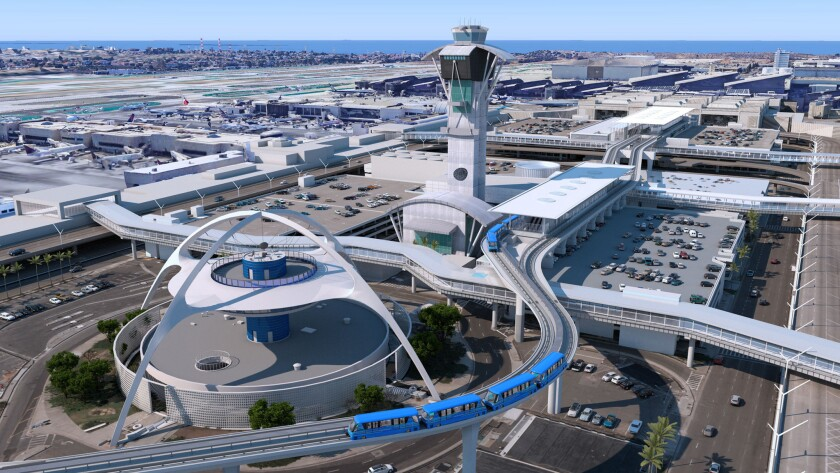 A photo-like rendering shows an LAX people-mover train, due for completion in 2023, skirting the airport's iconic Theme Building. Los Angeles World Airports