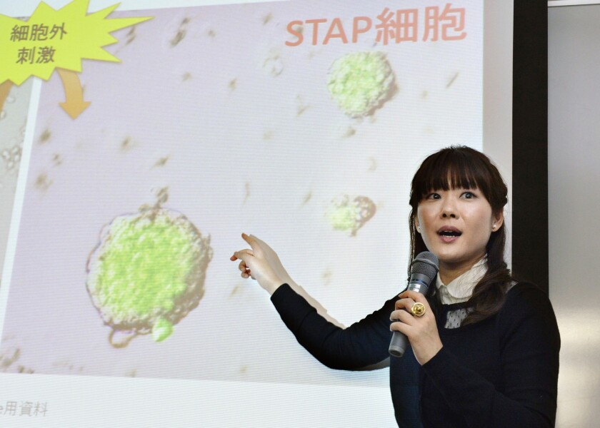Haruko Obokata, the lead author of a now controversial stem cell paper, speaks about her research results during a news conference in Kobe, Japan.